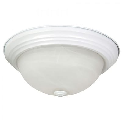 """""Yosemite Flush Mount 4 1/2"""""""" x 13 1/2"""""""" x 13 1/2"""""""" Ceiling Light W/White Marble Glass, White"""""" 1203146"