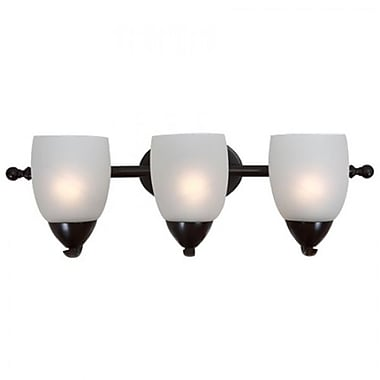 Yosemite 3-Light Vanity Light With Etched White Shade, Oil Rubbed Bronze