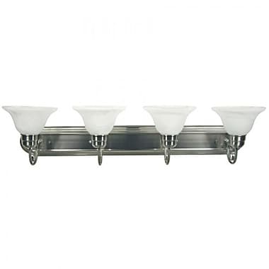 Yosemite 4-Light Vanity Light With White Frosted Shade, Satin Nickel