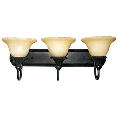 Yosemite 3-Light Vanity Light With Honey Parchment Shade, Sienna Bronze