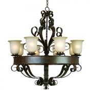 "Yosemite Mckensi 35 1/2"" x 31 1/2"" Ceiling Light W/Tea Stained Glass Shade, Bronze"