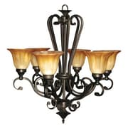 """Yosemite Florence 29 1/4"""" x 30 1/4"""" Chandelier Ceiling Light W/Marble Sunset Shade, Bronze"""