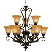 "Yosemite Florence 33"" x 31"" Chandelier Ceiling Light W/Marble Sunset Shade, Venetian Bronze"