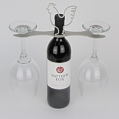 Metrotex Designs Laser Cut Rooster 2-Stem Bottle Topper; Nickel