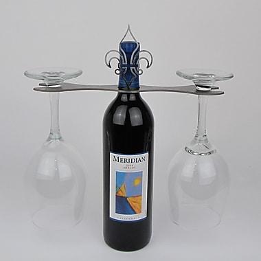 Metrotex Designs Laser Cut Fleur de Lis 2-Stem Bottle Topper; Natural Steel Lazcquered