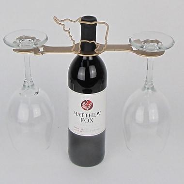 Metrotex Designs Laser Cut Longhorn 2-Stem Bottle Topper; Gold