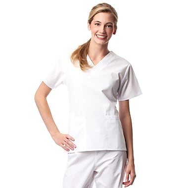 Core 1016X 2-Pocket V-Neck Top, White, Plus 5XL