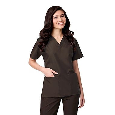 Core 1016X 2-Pocket V-Neck Top, Chocolate, Plus 3XL