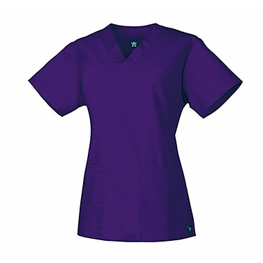 Core 1016 2-Pocket V-Neck Top, Purple, Regular XS