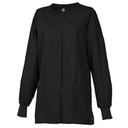 Maevn Core 8606 Unisex Round Neck Snap Front Jacket, Black