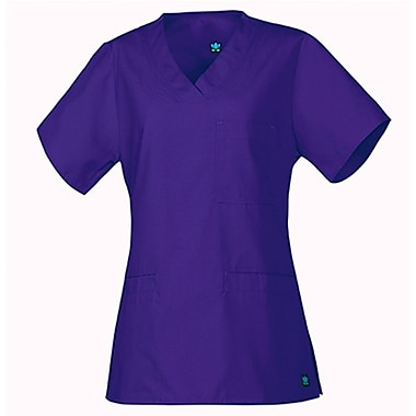 Core 1626 3-Pocket V-Neck Top, Purple, Regular M