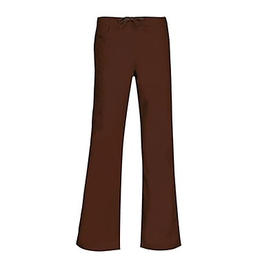Core 9626P Straight Cargo & Black Elastic Drawstring Pant, Chocolate, Petite L