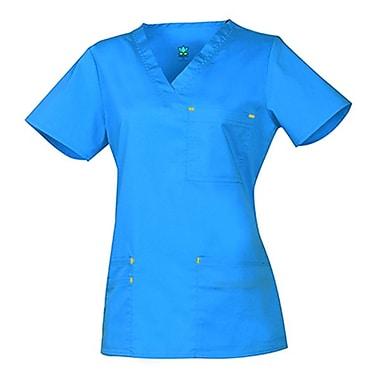 Blossom 1202 3-Pocket Fashion V-Neck Top, Pacific Blue, Regular 2XL