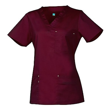 Blossom 1202 3-Pocket Fashion V-Neck Top, Wine, Regular 2XL