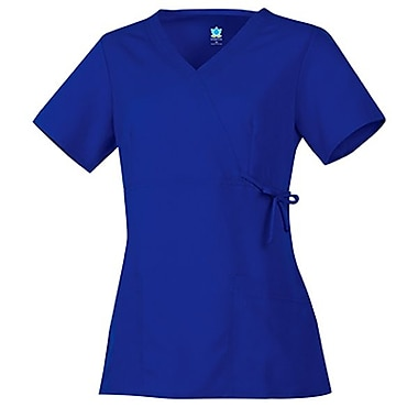 Maevn Gravity 1103 Fashion Y-Neck Mock Wrap Tops with Side Tie, Royal
