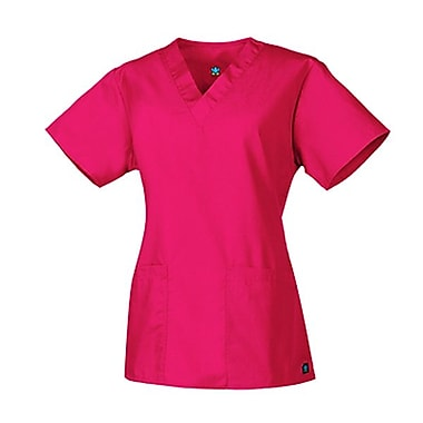 Maevn Core 1016 2-Pocket V-Neck Tops, Hot Pink