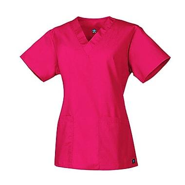 Chemisiers à encolure en V à 2 poches 1016 de la collection Core, rose fluo