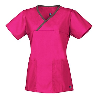 Core 1026 Y-Neck Mock Wrap Top Top, Hot Pink, Regular XXS