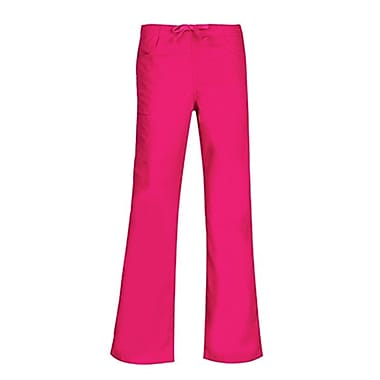 Core 9626P Straight Cargo & Black Elastic Drawstring Pant, Hot Pink, Petite S