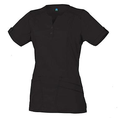 Blossom 1602 European Y-Neck Multi-Pocket Top, Black, Regular XL