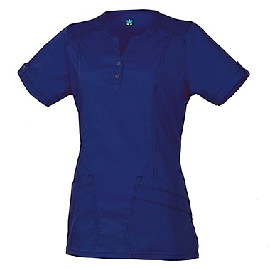 Maevn Blossom 1602 European Y-Neck Multi-Pocket Tops, Navy