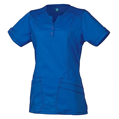 Maevn Blossom 1602 European Y-Neck Multi-Pocket Tops, Royal