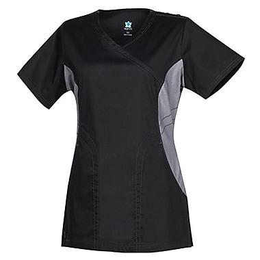 Empress 3102 Knit Accent Y-Neck Top, Black, Regular XS