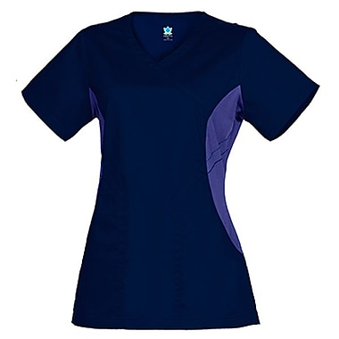 Empress 3102 Knit Accent Y-Neck Top, Imperial Blue, Regular M