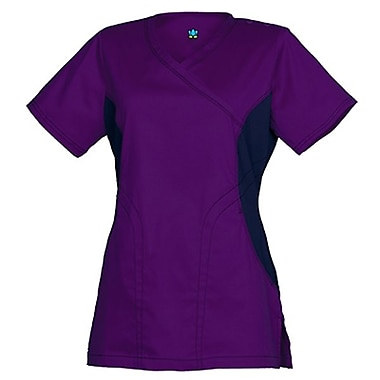 Empress 3102 Knit Accent Y-Neck Top, True Purple, Regular S