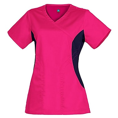 Maevn Empress 3102 Knit Accent Y-Neck Tops, Passion Pink
