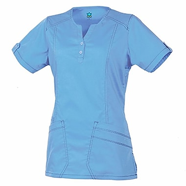 Maevn Blossom 1602 European Y-Neck Multi-Pocket Tops, Ceil Blue
