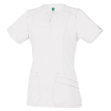 Blossom 1602 European Y-Neck Multi-Pocket Top, White, Regular M