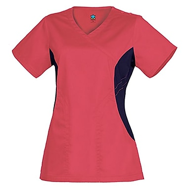 Empress 3102 Knit Accent Y-Neck Top, Coral, Regular S