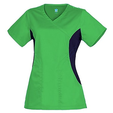 Empress 3102 Knit Accent Y-Neck Top, Apple Green, Regular M