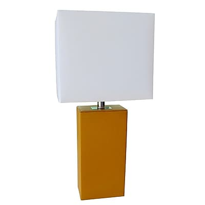 All the Rages Elegant Designs LT1025-TAN Leather Table Lamp, Tan