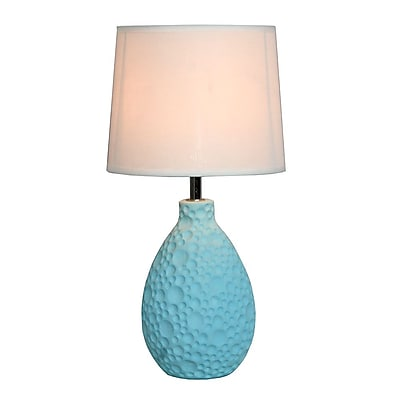 All the Rages Simple Designs LT2003-BLU Texturized Table Lamp, Blue
