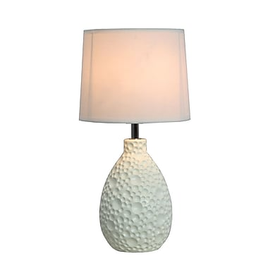 All the Rages Simple Designs LT2003-WHT Texturized Table Lamp, White