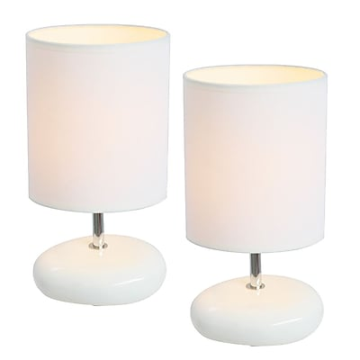 All the Rages Simple Designs LT2005-WHT-2PK Stonies Lamp 2 Pack, White