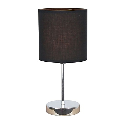 All the Rages Simple Designs LT2007-BLK Chrome Table Lamp Shade, Black