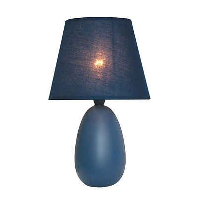 All the Rages Simple Designs LT2009-BLU Oval Ceramic Table Lamp, Blue