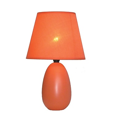 All the Rages Simple Designs LT2009-ORG Oval Ceramic Table Lamp, Orange