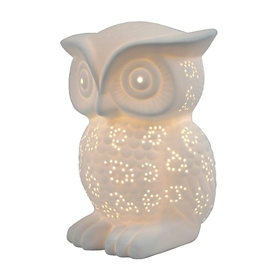 All the Rages Simple Designs LT3027-WHT Porcelain Owl Table Lamp, White