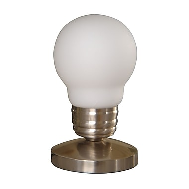 All the Rages Simple Designs NL2006-WHT Bulb Mini Touch Lamp, White