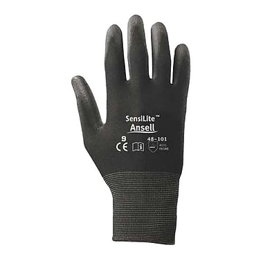 Ansell® SensiLite® Nylon Lined Polyurethane Coated Gloves, Black, Size 8