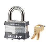 "Master Lock® 4 Pin Keyed Alike Laminated Padlock With 15/16"" Shackle, 6/Box"