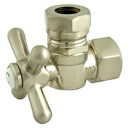 Elements of Design 1.87'' Decorative Quarter Turn Valve w/ Cross Handle; Satin Nickel