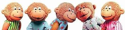 Eileen Christlelow's Five Little Monkeys Finger Puppet Playset