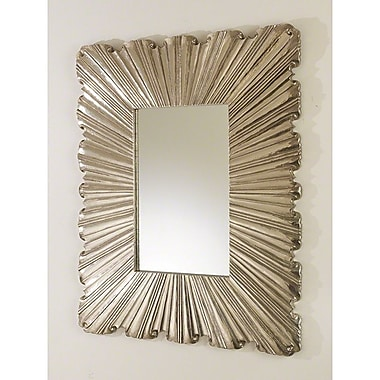 Global Views Linen Fold Mirror; Silver