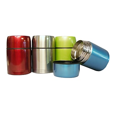 Geo Stainless Steel Vacuum Flasks, Red/Silver/Green/Blue, 4/Pack
