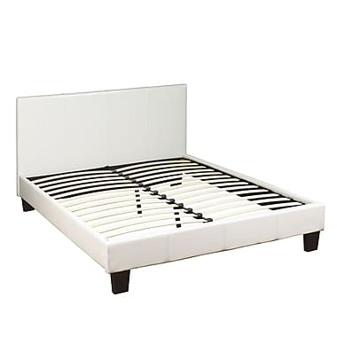 WHI Double Size Faux Leather Platform Bed, White